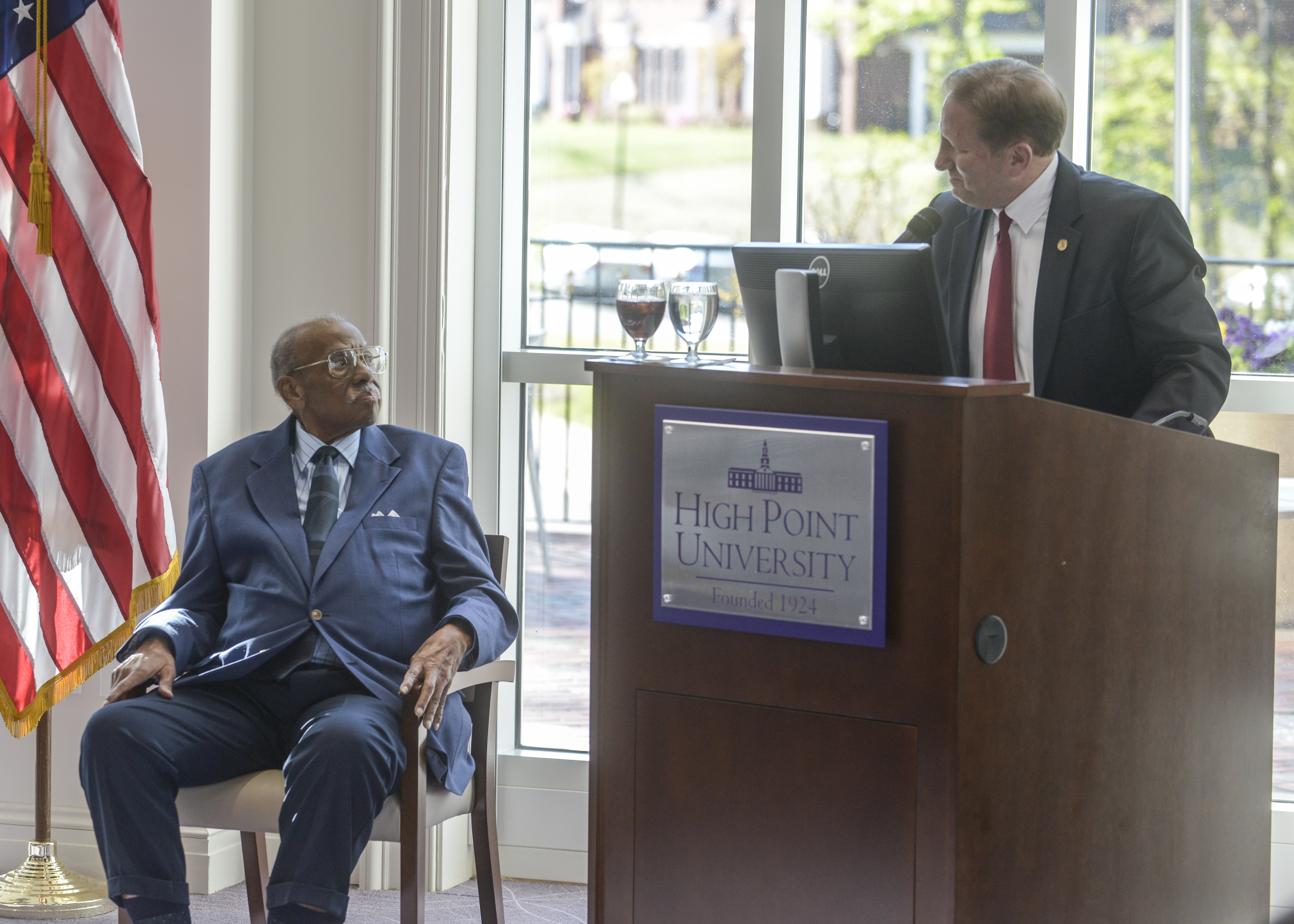 Paul Lessard pays tribute to the work of Mr Ray McAllister Sr on his receipt of the Order of Long Leaf Pine Award(photograph courtesy of High Point University)