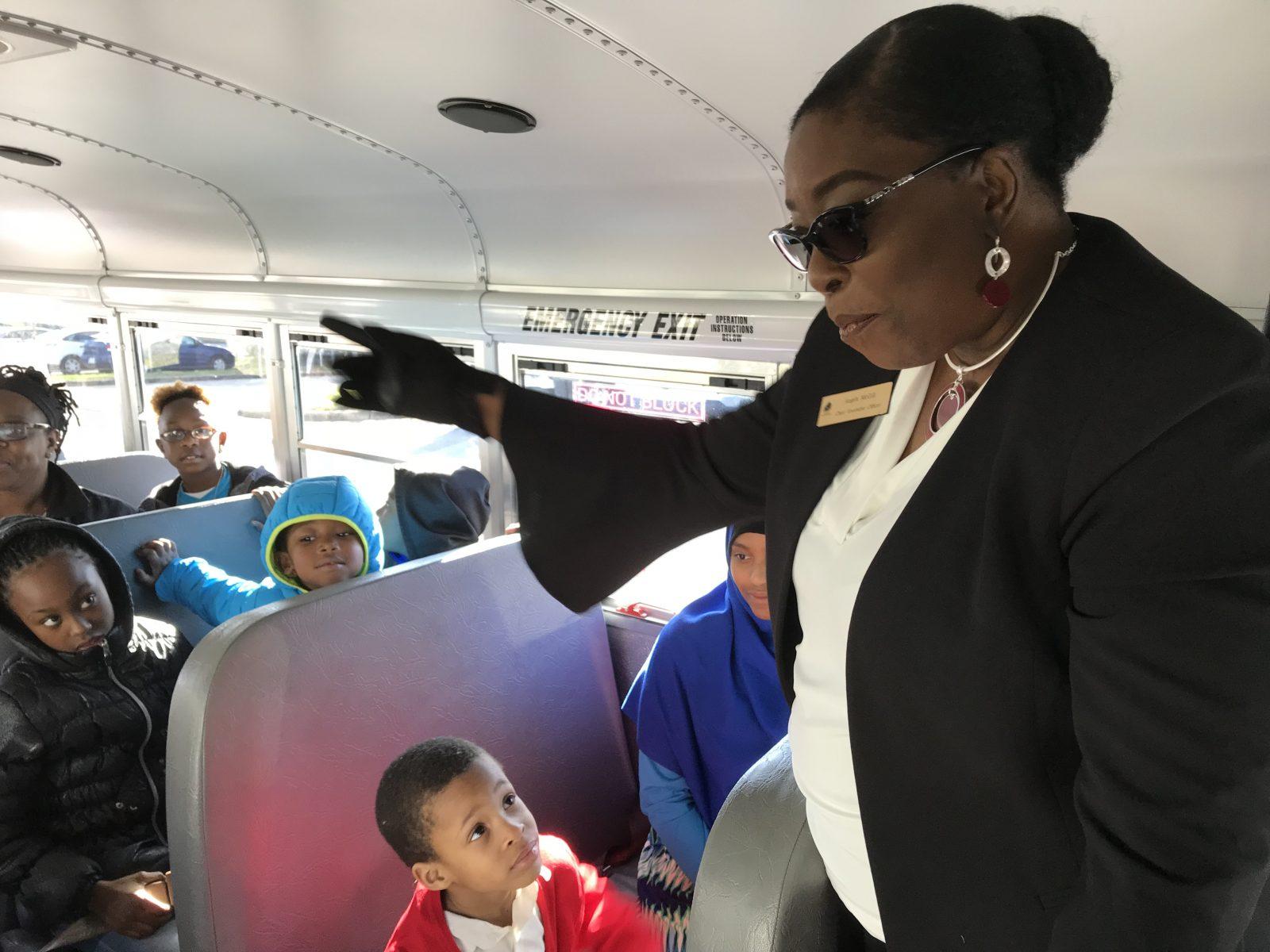 Angela McGill on donated bus.