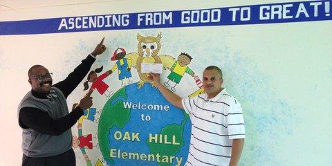 Keith Pemberton and Principal Weaver Walden - Oak Hill Elementary
